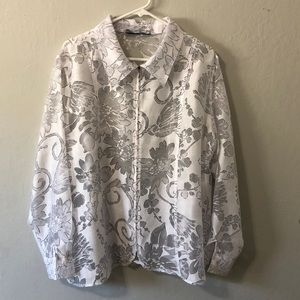 🌺 white light weight floral print jacket
